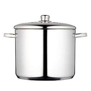 Masterclass Induction Safe Stainless Steel Large Stock Pot With Lid, 14 Litre