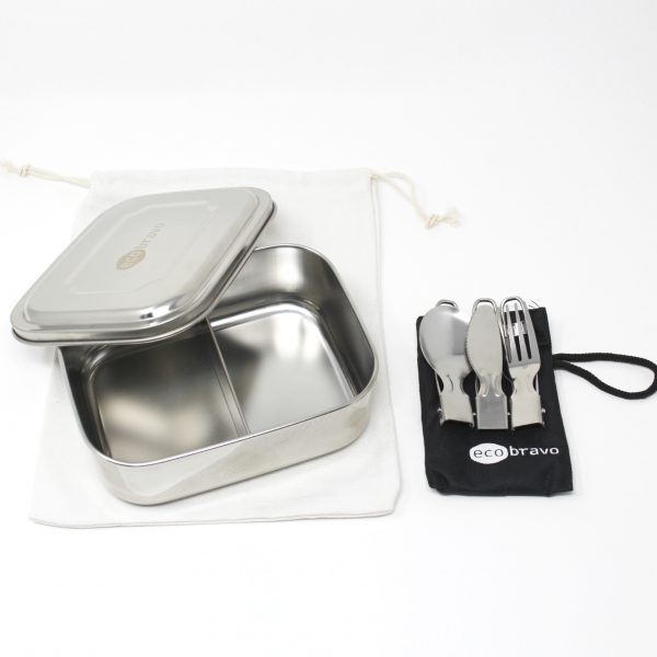 Stainless Steel Lunch Box with Reusable Cutlery & Pouch - 2 Compartments