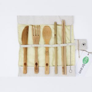 Travel Bamboo Cutlery Set With Fabric Pouch