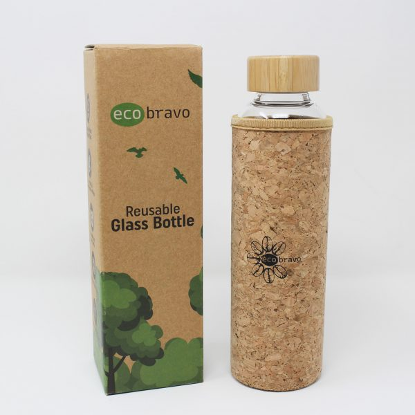 Glass Reusable Water Bottle With Cork Sleeve And Bamboo Lid 1