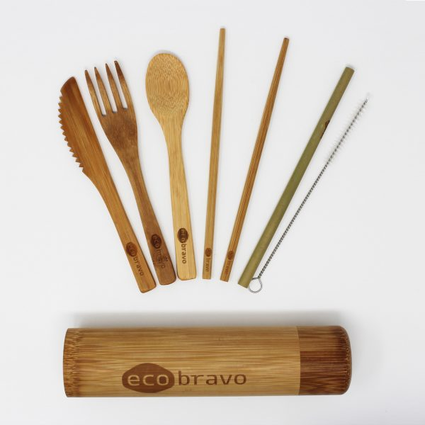 Reusable Bamboo Cutlery Set Light With Case